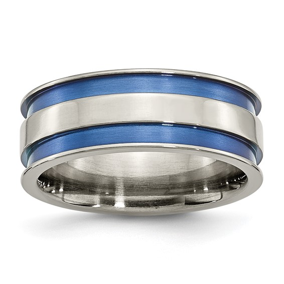Titanium 8.5mm Ring with Blue Grooves