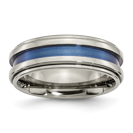 Titanium 8mm Ring with Blue Groove