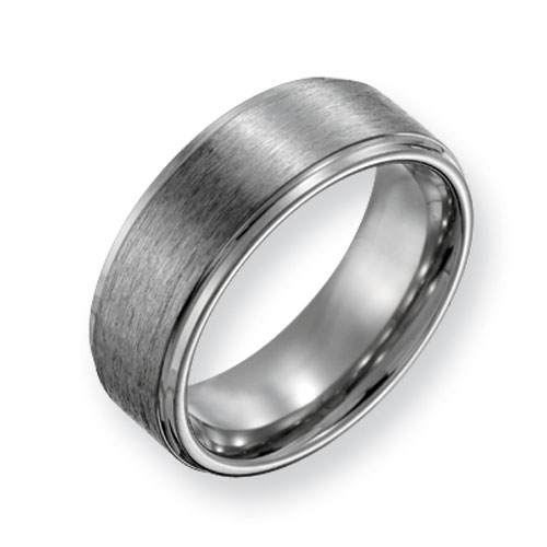 Titanium Flat Wedding Band Satin Finish with Grooved Edges 8mm