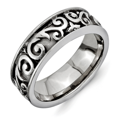 Titanium 8mm Ring with Scroll Texture
