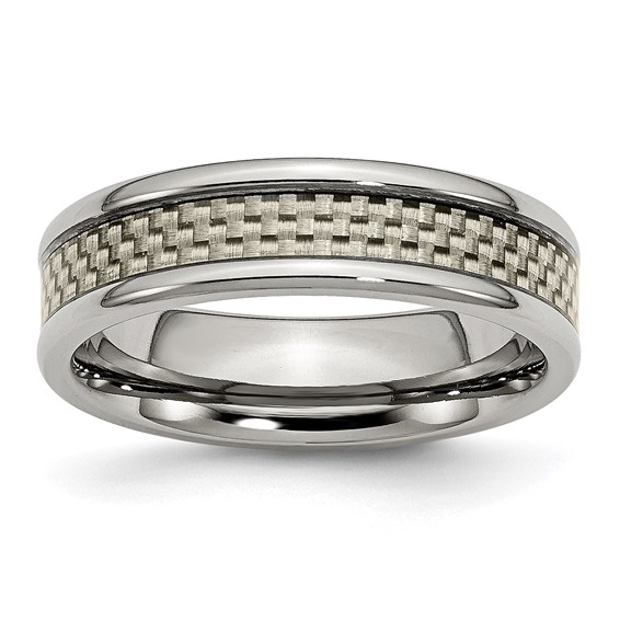 6mm Titanium Ring with Gray Carbon Fiber and Rounded Edges