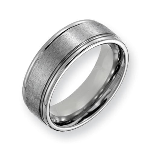 Titanium 8mm Grooved Edge Satin Wedding Band