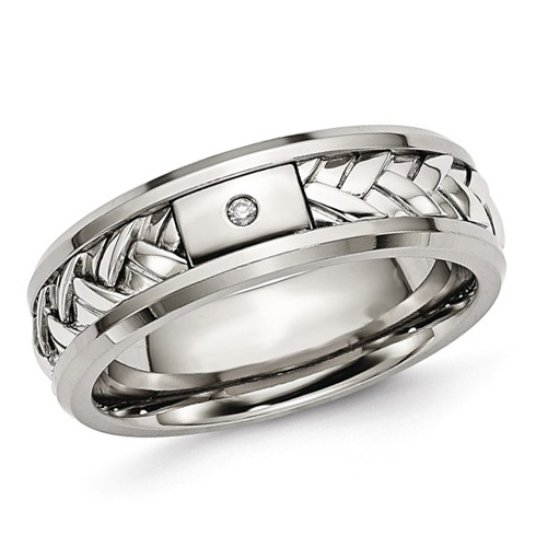 Titanium Wedding Band Sterling Silver Inlay with Diamond Accent