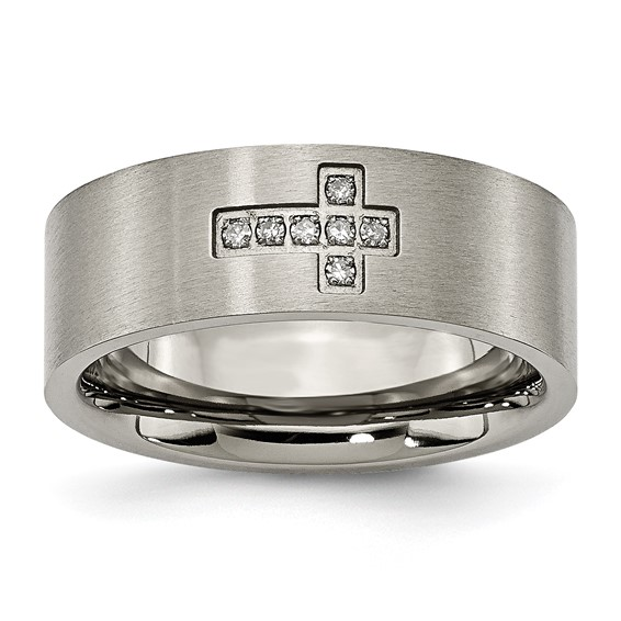 Titanium Brushed Wedding Band with Diamond Cross