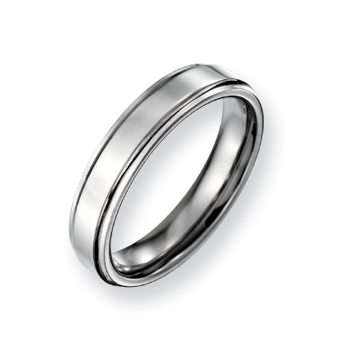 Titanium Ridged-Edge 5mm Polished Wedding Band