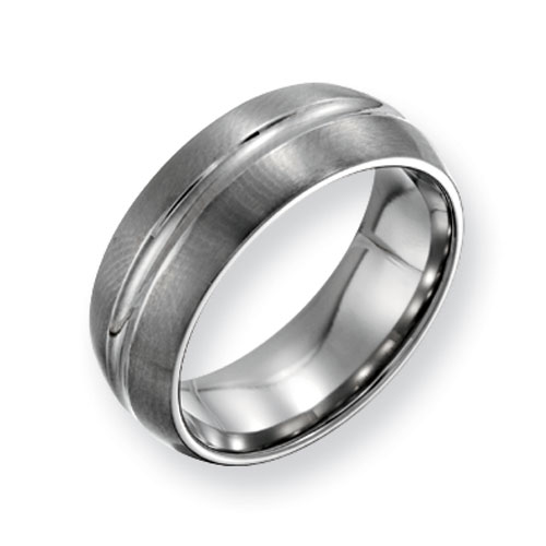 Titanium 8mm Grooved Brushed Wedding Band