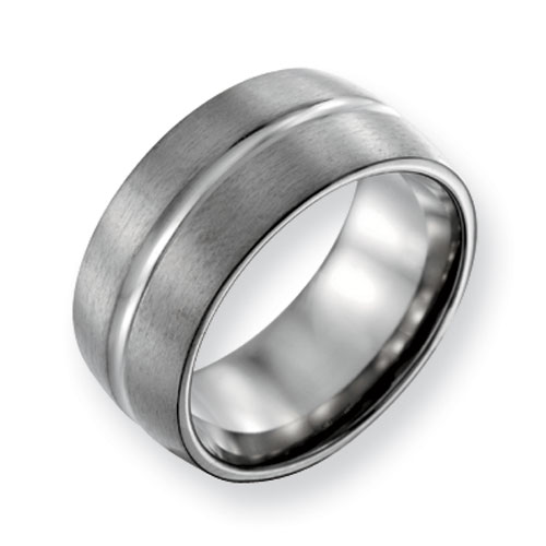 Titanium Grooved 10mm Satin & Polished Band