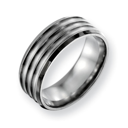 Titanium Grooved 8mm Band with Beveled Edges