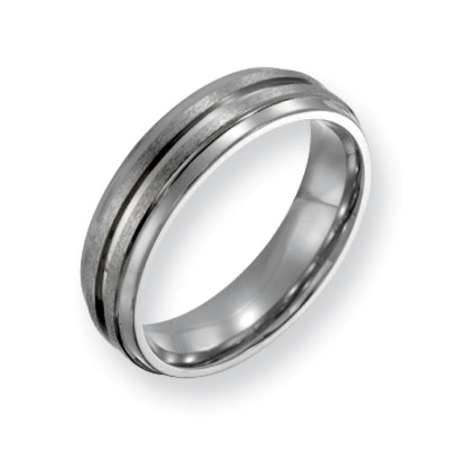 Titanium Grooved 6mm Satin & Polished Wedding Band