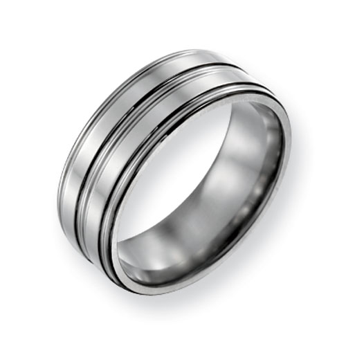 Titanium 8mm Polished Wedding Band with Round Grooves