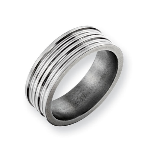 Titanium 8mm Wedding Band with Thin Grooves