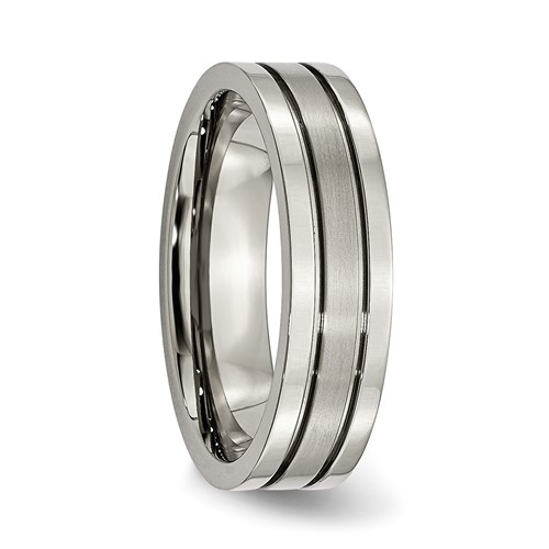 Titanium Grooved 6mm Brushed & Polished Band