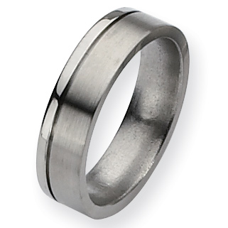 Titanium Brushed Polished Wedding Band with Offset Groove 6mm