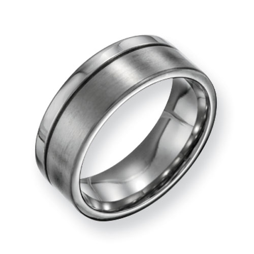 Titanium 8mm Brushed Polished Offset Wedding Band