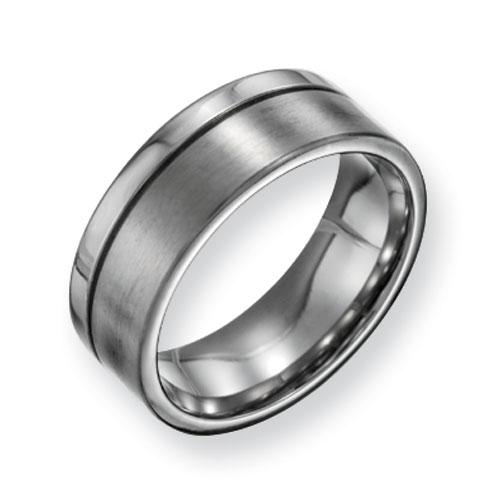 Titanium 8mm Brushed Polished Offset Wedding Band