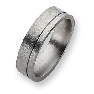 Titanium Grooved 6mm Satin Band