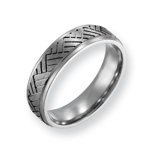Titanium Basket Weave Design 6mm Brushed and Polished Band