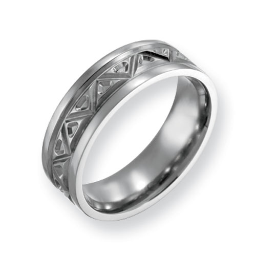 Titanium Tribal Design 7mm Polished Band