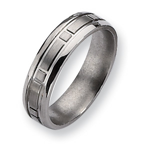 Titanium Square Design 6mm Satin Band