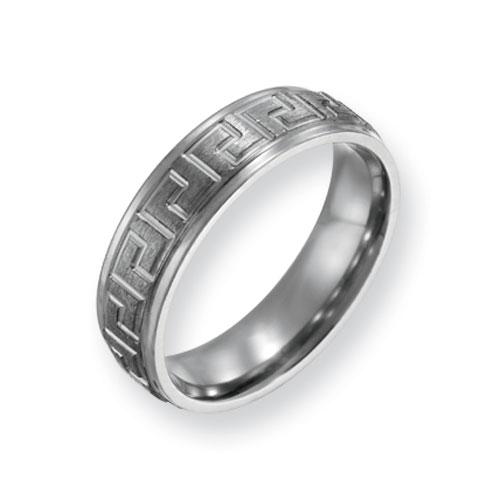 Titanium 6mm Greek Key Design Satin Wedding Band