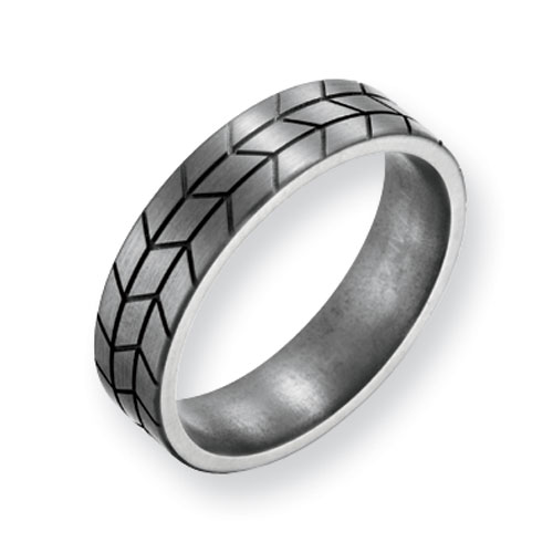 Titanium 6mm Ring with Brushed Tread Design