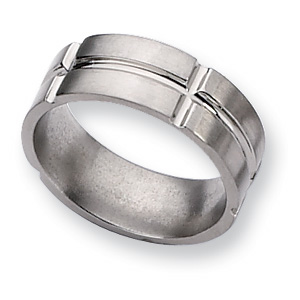 Titanium Brushed Wedding Band with Intersecting Grooves 8mm
