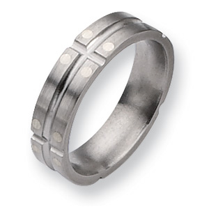 Titanium Sterling Silver Dots 6mm Band