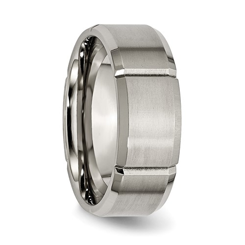 Titanium Grooved 8mm Brushed Wedding Band with Flat Center