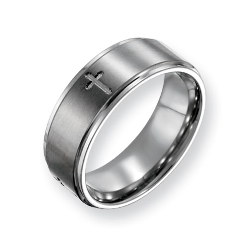 Titanium 8mm Cross Wedding Band with Ridged Edges