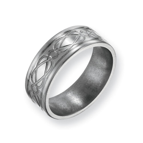 Titanium 8mm Celtic Knot Ring with Sterling Silver Inlay