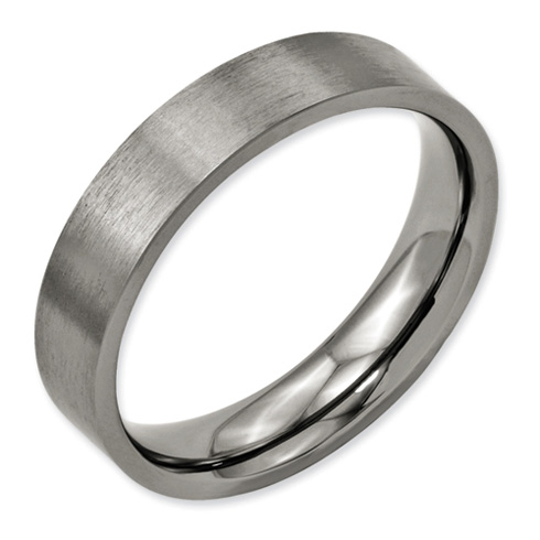 Titanium 5mm Flat Brushed Wedding Band