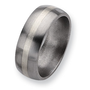 Titanium 8mm Brushed Sterling Silver Inlay Wedding Band