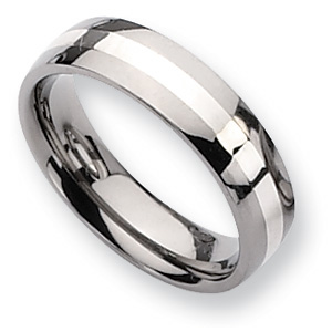 Titanium 6mm Wedding Band with Sterling Silver Inlay