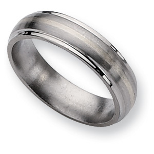 Titanium Sterling Silver Inlay 6mm Brushed Wedding Band