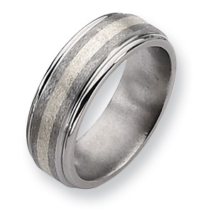 Titanium and Sterling Inlay Satin 8mm Band
