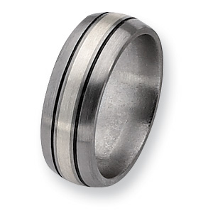 Titanium Sterling Inlay 8mm Band with Antiquing