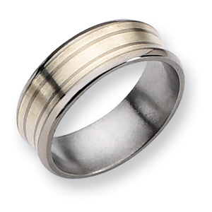 Titanium Sterling Silver Inlay Concave 8mm Band