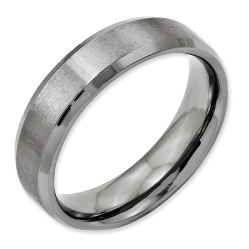 Titanium 6mm Brushed Wedding Band with Beveled Edges