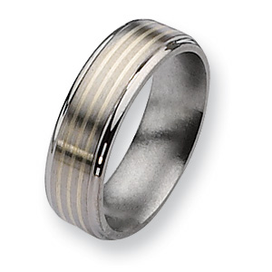 Titanium Sterling Silver Inlay 8mm Band with Ridged Edges