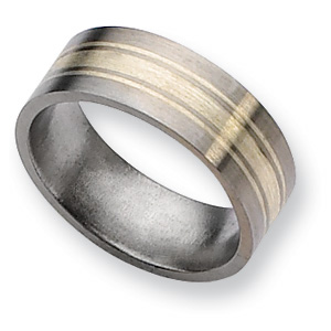 Titanium 8mm Brushed Wedding Band Sterling Silver Inlay