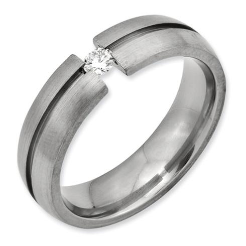 Titanium 6mm 1/6 ct Diamond Tension Set Wedding Band