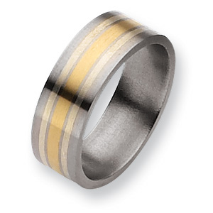 Titanium 14k Gold & Sterling Silver Inlay 8mm Band