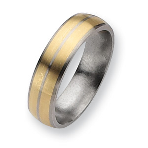 Titanium 14k Gold Inlay 6mm Brushed Band