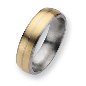 Titanium 14k Gold Inlay 6mm Brushed Band