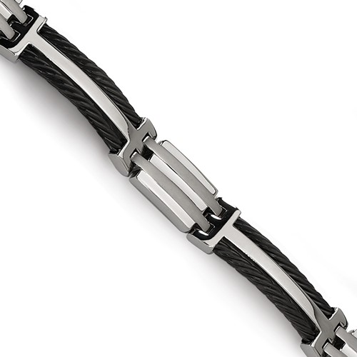 Titanium 8.5in Link Bracelet with Black-Plated Cable Accents
