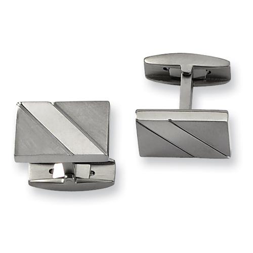 Titanium Polished and Brushed Rectangular Cufflinks