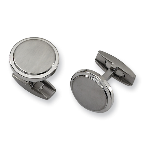 Titanium Brushed and Polished Round Cufflinks