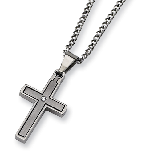Titanium 1 1/4in Cross with Diamond Accent on 22in Necklace