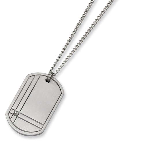 Titanium Dog Tag with Diamond Accent 22in Steel Necklace