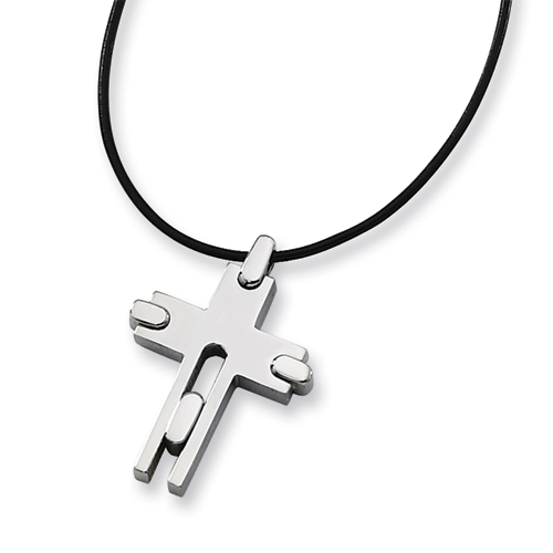 Titanium 1 1/4in Cross Leather Cord Necklace